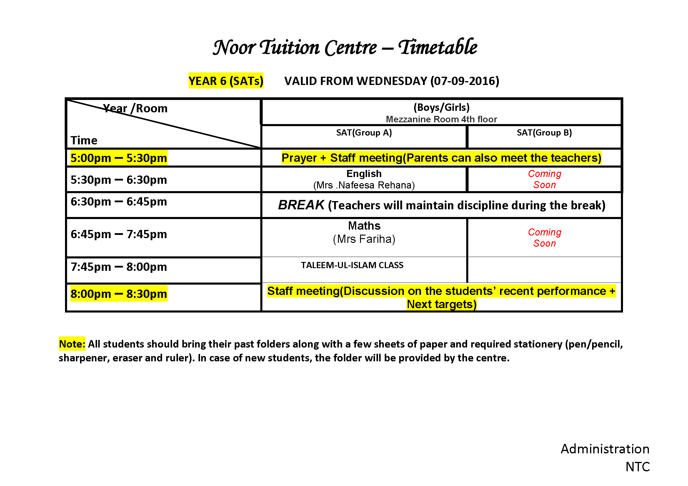 Time Table SAT year 6