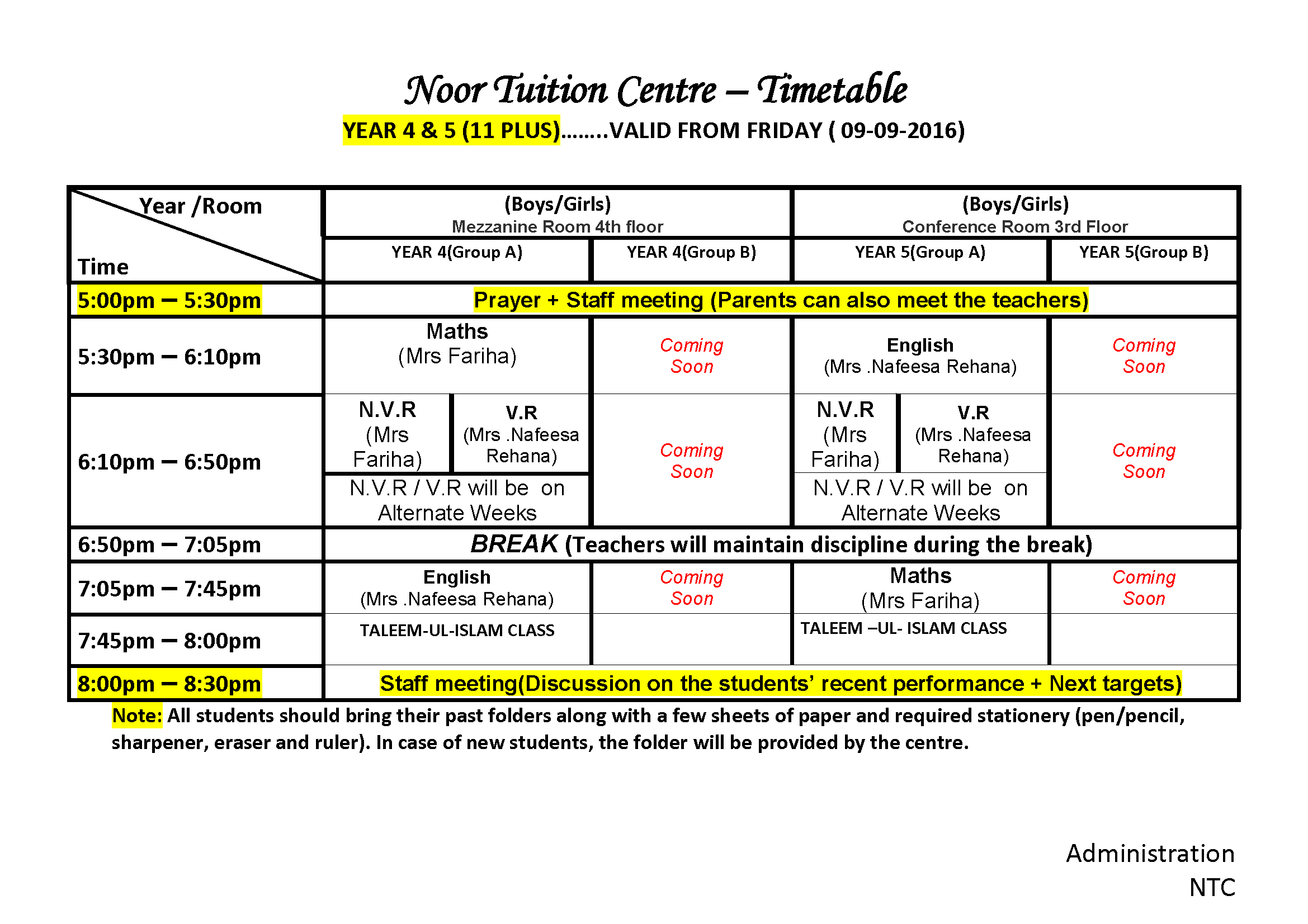 Time Table for classes 4 and 5 (11 PLUS)